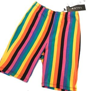 Motel Bike Shorts High Rise Striped Rainbow XS NWT